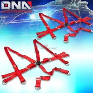 Pair Universal 6 Point 2 Red Nylon Strap Harness Safety Camlock Seat Belt Belts