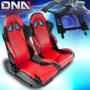 For 82 92 Trans Am Bracket type 5 Black Red Woven Racing Seat Reclinable X2