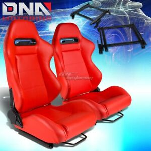 For 90 93 Acura Integra Da Bracket Type R Red Pvc Racing Seat Reclinable X2