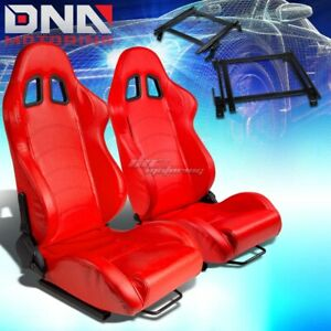 For 02 06 Acura Rsx Dc5 K20 Bracket Type 1 Red Pvc Racing Seat Reclinable X2