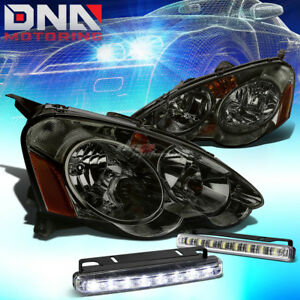 Smoked Crystal Clear Headlight corner led Driving Fog Light For 02 04 Rsx Dc5