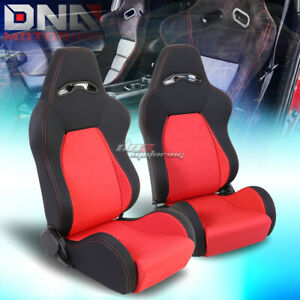 Full Reclinable Red Stitching Woven Cloth Bucket Racing Seat Driver passenger