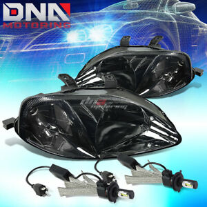 Smoked Housing Headlight Clear Corner 6000k White Led System Fit 99 00 Civc Ej