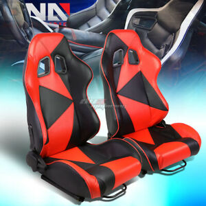 Black red Reclinable Pvc Eather Triangle Design Racing Seat W universal Slider