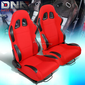 Red Black Trim Reclinable Woven Fabric Type R Racing Seats W Universal Sliders