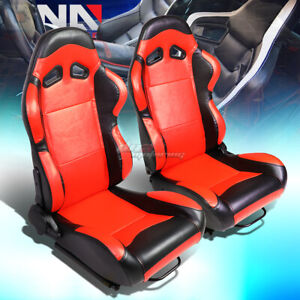 Red Center black Trim Reclinable Pvc Leather Racing Seats W universal Sliders