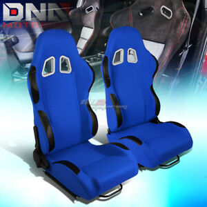 Blue Center black Trim Reclinable Cloth Type r Racing Seats W universal Sliders