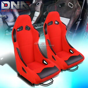 Red Base Black Bolster Fixed Position Fabric Racing Seats W Universal Sliders