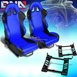 Black Blue Pvc Square Stitch Racing Seat Bracket Fit 93 98 Vw Golf Jetta Beatle