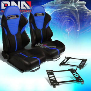 2x Black Pvc Reclinable Blue Headrest Racing Seat bracket Fit 05 14 Ford Mustang