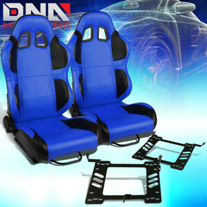 Pair Of Blue Pvc Black Wing Racing Seat Bracket Fit 93 98 Vw Golf Jetta Beatle