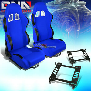 2x Black blue Cloth Reclinable Sport Racing Seat bracket Fit 05 14 Ford Mustang
