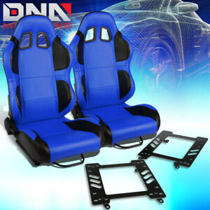 Pair Blue Pvc Reclinable Black Wing Racing Seat bracket Fit 92 99 Bmw 3 series