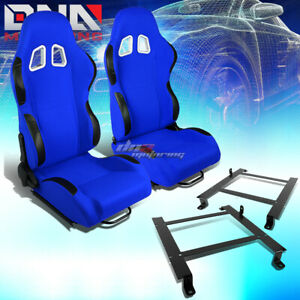 2x Black Blue Cloth Sport Racing Seat Low Mount Bracket Fit 97 04 Chevy Corvette