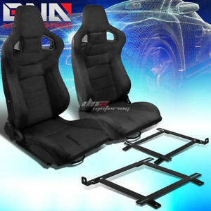 2x Black Suede Carbon Fiber Look Racing Seat low Mount Bracket Fit 99 04 Mustang