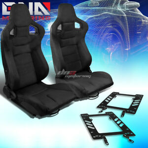 2x Black Suede Rear Carbon Fiber Look Racing Seat bracket Fit 79 98 Ford Mustang