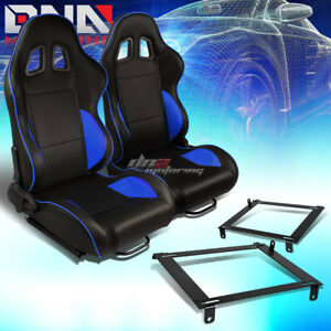 Black Pvc Reclinable Blue Line Racing Seat Low Mount Bracket Fit 02 06 Acura Rsx