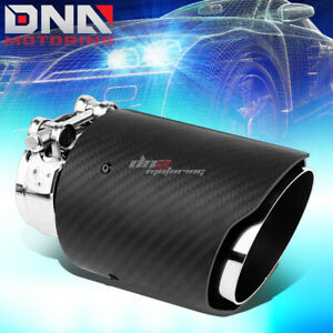 3 5 Oulet Real Carbon Fiber Cover Stainless Steel Catback Exhaust Muffler Tip