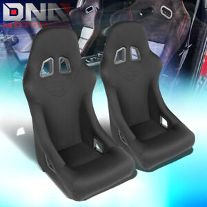 Pair Black Fully Fixed Woven Sport Spec Racing Seats W universal Slider