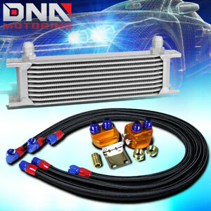 10 Row 10an Silver Aluminum Engine Transmission Oil Cooler Black Relocation Kit