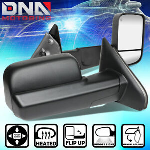 For 2002 2009 Dodge Ram Pair Black Powered Towing Camper Side Mirrors Heated