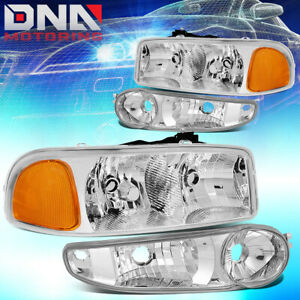 For 2001 2007 Gmc Sierra yukon Denali Driving Headlight bumper Lamp Chrome amber
