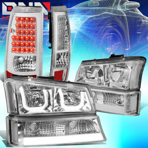 Fit 03 07 Silverado sierra Led Drl 3d U halo Headlights tail Lamps Chrome clear