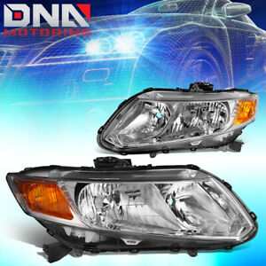 For 2012 2015 Honda Civic Chrome Housing Amber Corner Headlight lam