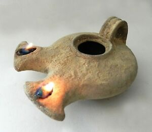 Biblical Oil Lamp Holy Land Ancient Antique Roman Clay Pottery 2wicks Terracotta