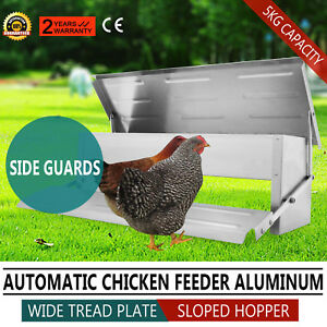 Automatic Chicken Feeder Auto Treadle Self Opening Aluminium Chook Poultry