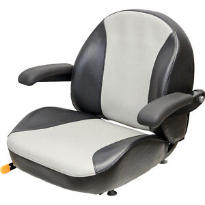 K M 8467 Garden lawn Tractor Seat With Fold up Armrests black silver Vinyl