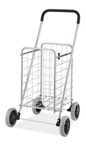 Folding Shopping Cart Jumbo Size Basket Wheels Laundry Grocery Travel