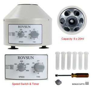 800 1 4000rpm Electric Centrifuge Machine Timer 6x20ml Rotor