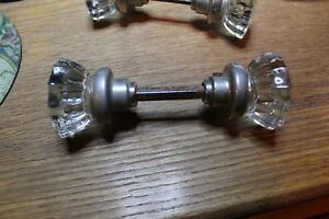 Antique Vintage Door Knob Set 12 Pt Glass Nickel W Rod