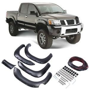 Pocket Front Rear Fender Flares Fits 04 14 Nissan Titan With Lockbox Only