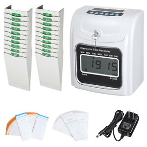 Employee Attendance Punch Time Clock W 100 Cards 2pcs 10 pocket Card Racks Kit