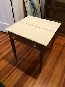 Antique Accent Table Painted White Top Glass Drawer Pulls