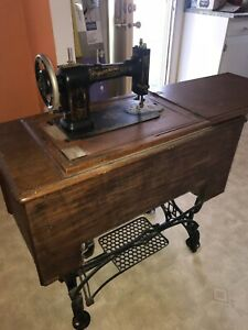 Antique 1906 09 White Family Rotary Treadle Sewing Machine Tiger Oak
