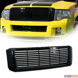 For 07 14 Ford Expedition Glossy Black Horizontal Front Hood Bumper Grill Grille