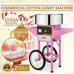 Electric Cotton Candy Machine Pink Floss Carnival Commercial Maker Party W cart