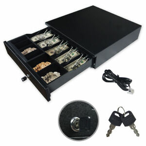 Cash Drawer Register Metal Rj 11 Key lock W Bill Moveable Coin Trays Pos Prin