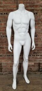 5 Foot 4 Inch Plastic Headless Male Full Size Mannequin W Magnetic Arms No Stand