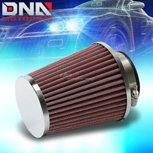 2 5 4 5 W Cold Short Ram Intake Universal High Flow Cone Red Air Filter Clamp