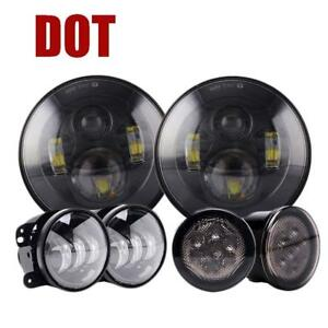 7 Inch Led Headlight Fog Light Turn Signal Combo Kit For 07 17 Jeep Wrangler Jk