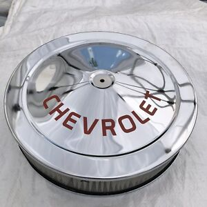 Chrome Air Cleaner Chevrolet Logo Red Silk Screen Not A Decal 14x3 Edelbrock