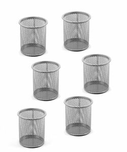Rebrilliant Fay Round Desk Steel Mesh Markers Pencil Pen Cup Holder Set Of 6