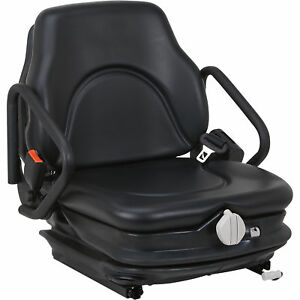 Low suspension Seat Caterpillar Mitsubishi Forklifts vinyl covered Steel Blk