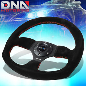Nrg Reinforced Rst 009s Rs 320mm Black Suede Red Stitch D Shape Steering Wheel