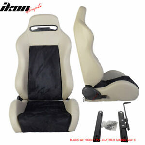 Universal Black Gray Pvc Leather Full Reclinable Racing Seats One Set Sliders