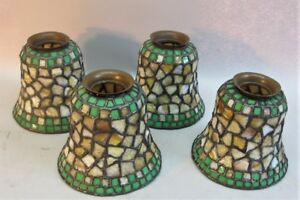 Fine Antique Set Of 4 Mosaic Stained Glass Lamp Shades Philip Semmer C 1920